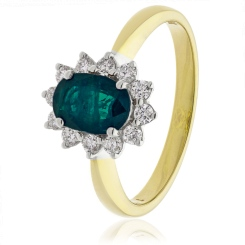HROGEM1024 Emerald Gemstone & Diamond Halo Ring in 18K Yellow Gold - 1.40ct, VS clarity, FG colour - yellow