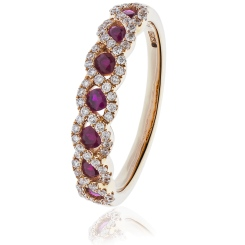 HRRGRY1000 Ruby & Diamond Designer Eternity Ring in 18K Rose Gold - 0.50ct, VS clarity, FG colour - rose