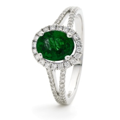 HROGRY1039 Split Shank Emerald & Diamond Halo Ring - white