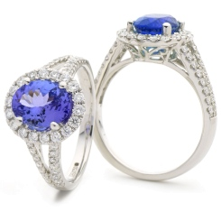 HROGTZ1100 Designer Split Shank Tanzanite & Diamond Halo Ring - white