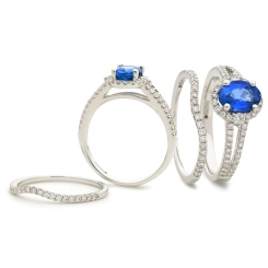 HROGBS1040 Blue Sapphire & Diamond Split Shank Halo Ring - white