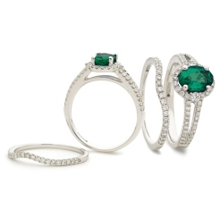 HROGRY1041 Emerald & Diamond Split Shank Halo Ring - white