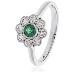HRRGEM1068 Emerald Gemstone Flower Halo Ring - white