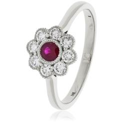 HRRGRY1069 Ruby Gemstone Flower Halo Ring - white
