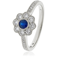 HRRGBS1062 Deco Round cut Blue Sapphire Cocktail Diamond Ring - white