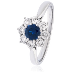 HRRGBS1026 Round cut Blue Sapphire & Diamond Halo Ring - white