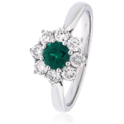 HRRGEM1027 Round cut Emerald & Diamond Halo Ring - white