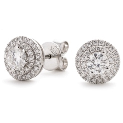 HER145 Designer Double Halo Diamond Earrings - white