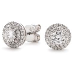 HER145 Designer Double Halo Diamond Earrings - white