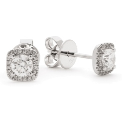 HER146 Round Cushion Halo Diamond Earrings - white