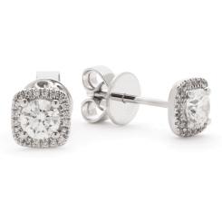 HER146 Round Cushion Halo Diamond Earrings - white