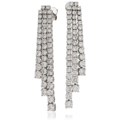HER203 Three Row Drop Diamond Earrings - white