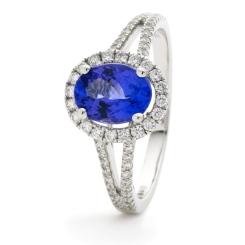 HROGBS1038 Split Shank Blue Sapphire & Diamond Halo Ring - white