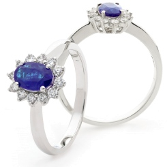 HROGTZ1093 Tanzanite & Diamond Single Halo Ring - white