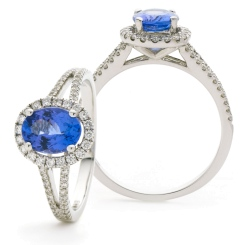 HROGTZ1099 Split Shank Tanzanite & Diamond Halo Ring - white