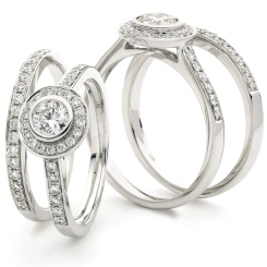 HRRBS889 Round cut Pave set Bridal Diamond Rings Set - white