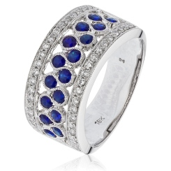 HRRGBS1003 Blue Sapphire & Diamond Cocktaill Eternity Ring - white