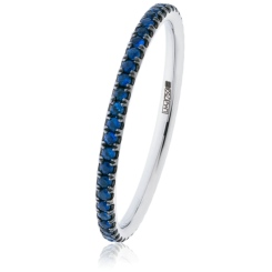 HRRGBS997 Blue Sapphire Full Eternity Ring - white