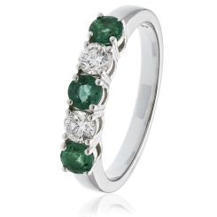 HRRGEM983 Emerald & Diamond 5 Stone Diamond Ring - white