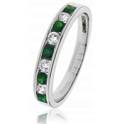 HRRGEM995 Emerald Gemstone & Diamond Eternity Ring - white