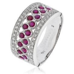 HRRGRY1004 Ruby & Diamond Designer Cocktail Swirl Eternity Ring - white