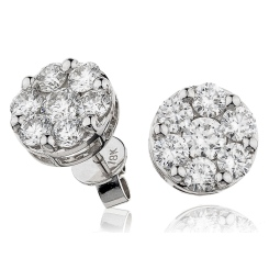 HERCL110 Round cut Cluster Diamond Earrings - white