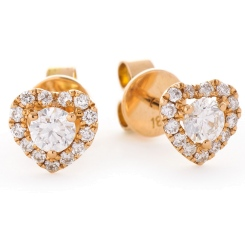 HER147 Round Heart Halo Diamond Earrings in 18K Rose Gold - 0.60ct, VS clarity, FG colour - rose