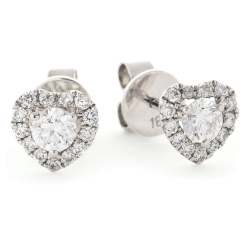HER147 Round Heart Halo Diamond Earrings - white