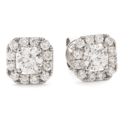 HEP144 Designer Princess Halo Diamond Earrings - white