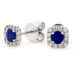 HERGBS276 Round Shape Blue Sapphire Earrings - white