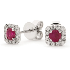 HERGRY277 Round Shape Ruby Gemstone Earrings - white