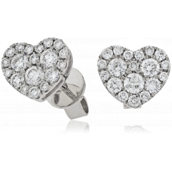 HERCL115 Heart Shaped Round cut Cluster Diamond Earrings - white