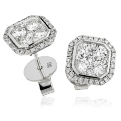 HERCL116 Bezel set Round cut Cluster Diamond Earrings - white