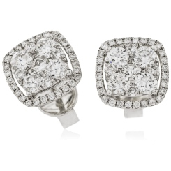 HERCL117 Cushion Halo Round cut Cluster Diamond Earrings - white