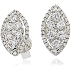 HERCL118 Maquise shaped Halo Round cut Diamond Cluster Earrings - white