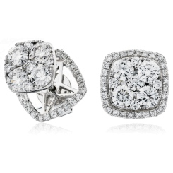 HERCL120 Changeable Cushion Halo Round cut Cluster Diamond Earrings - white