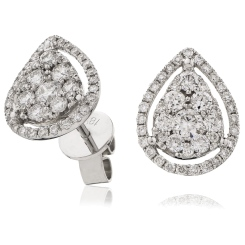 HERCL121 Tear Drop Halo Round cut Cluster Diamond Earrings - white