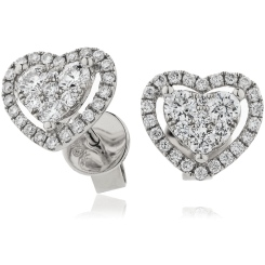 HERCL122 Heart shaped Halo Round cut Cluster Diamond Earrings - white