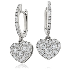 HERCL223 Duo Heart Shape Drop Cluster Earrings - white