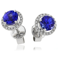 HERGBS269 Round Shape Blue Sapphire & Diamond Earrings - white