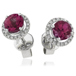 HERGRY270 Round Shape Ruby & Diamond Earrings - white