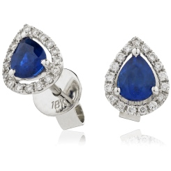 HEPEGBS283 Pear cut Blue Sapphire & Diamond Stud Halo Earrings - white