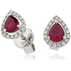 HEPEGRY284 Pear cut Ruby & Diamond Stud Halo Earrings - white