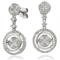 HERCL192 Designer Movable Round  Diamond Earrings - white