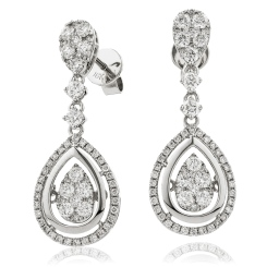 HERCL193 Tear Designer Movable Diamond Earrings - white