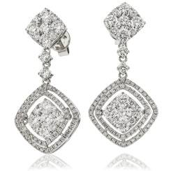 HERCL194 Designer Cluster Movable Diamond Earrings - white