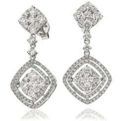 HERCL194 Designer Cluster Movable Diamond Earrings - white