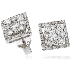 HERCL112 Square Halo Round cut Cluster Diamond Earrings - white