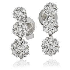 HER217 Trilogy Cluster Journey Diamond Earrings - white