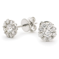 HERCL109 Round cut Cluster Diamond Earrings - white